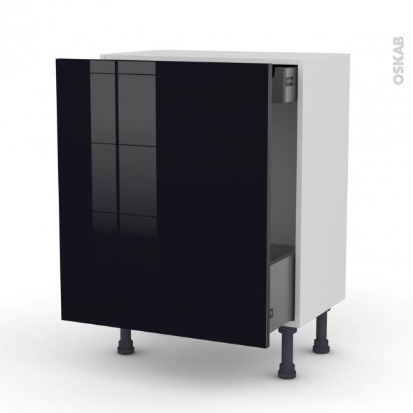 Meuble de cuisine - Bas coulissant - KERIA Noir - 1 porte 1 tiroir à l'anglaise - L50 x H70 x P58 cm