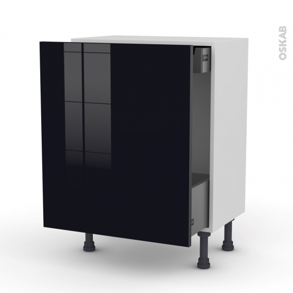 KERIA Noir - Meuble bas coulissant - 1 porte-1 tiroir anglaise - L60xH70xP37