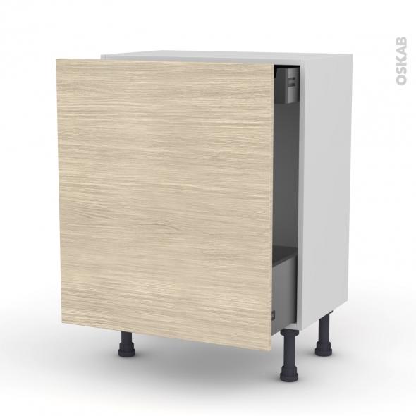 Meuble de cuisine - Bas coulissant - STILO Noyer Blanchi - 1 porte 1 tiroir à l'anglaise - L60 x H70 x P37 cm