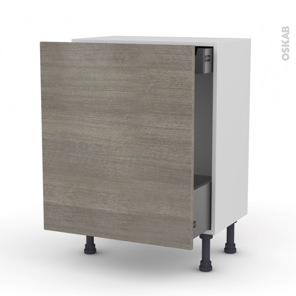 STILO Noyer naturel - Meuble bas coulissant - 1 porte-1 tiroir anglaise - L60xH70xP37