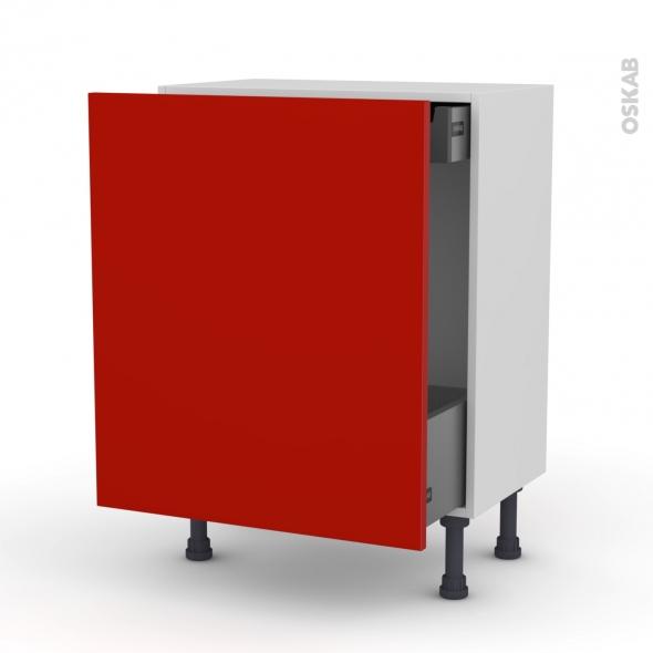 GINKO Rouge - Meuble bas coulissant - 1 porte-1 tiroir anglaise - L60xH70xP37