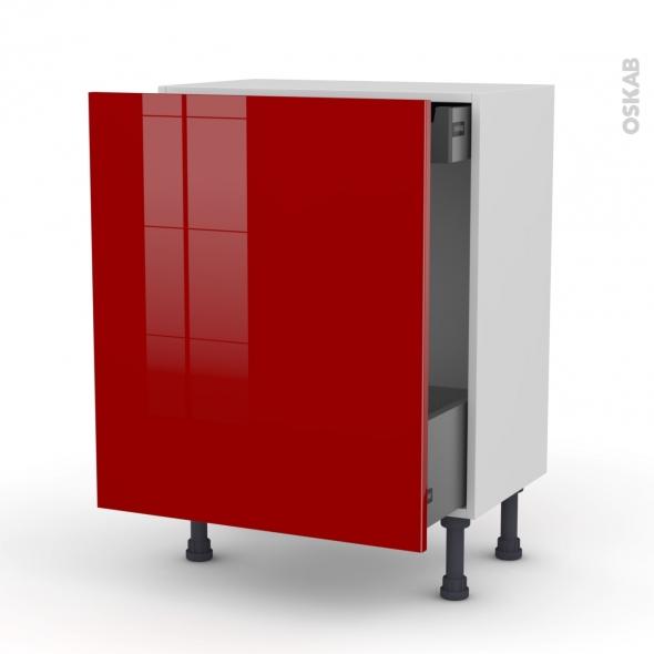 Meuble de cuisine - Bas coulissant - STECIA Rouge - 1 porte 1 tiroir à l'anglaise - L60 x H70 x P37 cm