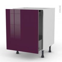 Meuble de cuisine - Bas coulissant - KERIA Aubergine - 1 porte 1 tiroir à l'anglaise - L60 x H70 x P58 cm