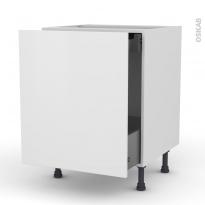 Meuble de cuisine - Bas coulissant - GINKO Blanc - 1 porte 1 tiroir à l'anglaise - L60 x H70 x P58 cm