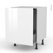 Meuble de cuisine - Bas coulissant - IRIS Blanc - 1 porte 1 tiroir à l'anglaise - L60 x H70 x P58 cm