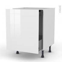 Meuble de cuisine - Bas coulissant - STECIA Blanc - 1 porte 1 tiroir à l'anglaise - L60 x H70 x P58 cm