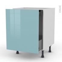 Meuble de cuisine - Bas coulissant - KERIA Bleu - 1 porte 1 tiroir à l'anglaise - L60 x H70 x P58 cm