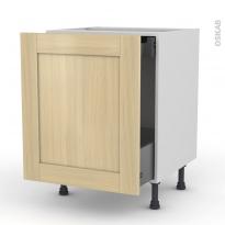BASILIT Bois Vernis - Meuble bas coulissant  - 1 porte - 1 tiroir anglaise - L60xH70xP58