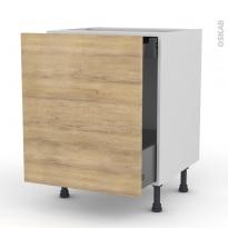 Meuble de cuisine - Bas coulissant - HOSTA Chêne naturel - 1 porte 1 tiroir à l'anglaise - L60 x H70 x P58 cm