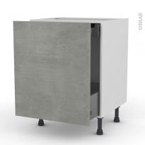 Meuble de cuisine - Bas coulissant - FAKTO Béton - 1 porte 1 tiroir à l'anglaise - L60 x H70 x P58 cm