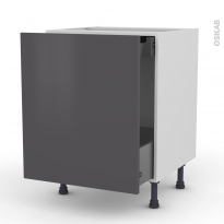GINKO Gris - Meuble bas coulissant  - 1 porte-1 tiroir anglaise - L60xH70xP58