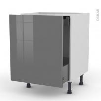 Meuble de cuisine - Bas coulissant - STECIA Gris - 1 porte 1 tiroir à l'anglaise - L60 x H70 x P58 cm