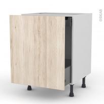 IKORO Chêne clair - Meuble bas coulissant  - 1 porte -1 tiroir anglaise - L60xH70xP58