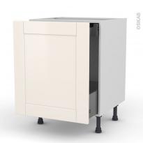 Meuble de cuisine - Bas coulissant - FILIPEN Ivoire - 1 porte 1 tiroir à l'anglaise - L60 x H70 x P58 cm