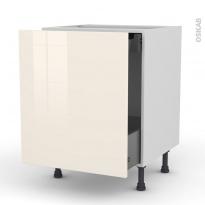 Meuble de cuisine - Bas coulissant - KERIA Ivoire - 1 porte 1 tiroir à l'anglaise - L60 x H70 x P58 cm
