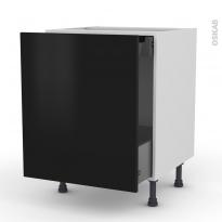 GINKO Noir - Meuble bas coulissant  - 1 porte-1 tiroir anglaise - L60xH70xP58