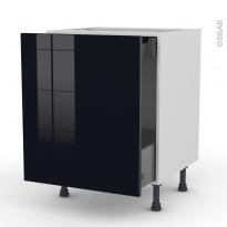 Meuble de cuisine - Bas coulissant - KERIA Noir - 1 porte 1 tiroir à l'anglaise - L60 x H70 x P58 cm