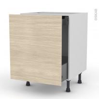 Meuble de cuisine - Bas coulissant - STILO Noyer Blanchi - 1 porte 1 tiroir à l'anglaise - L60 x H70 x P58 cm