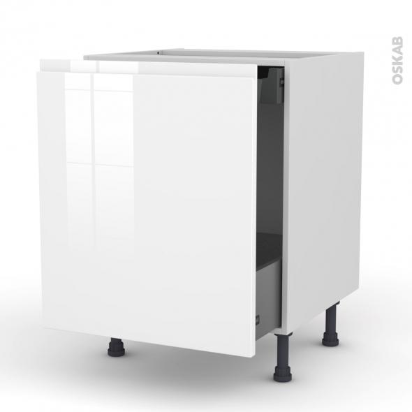 Meuble de cuisine - Bas coulissant - IPOMA Blanc - 1 porte 1 tiroir à l'anglaise - L60 x H70 x P58 cm