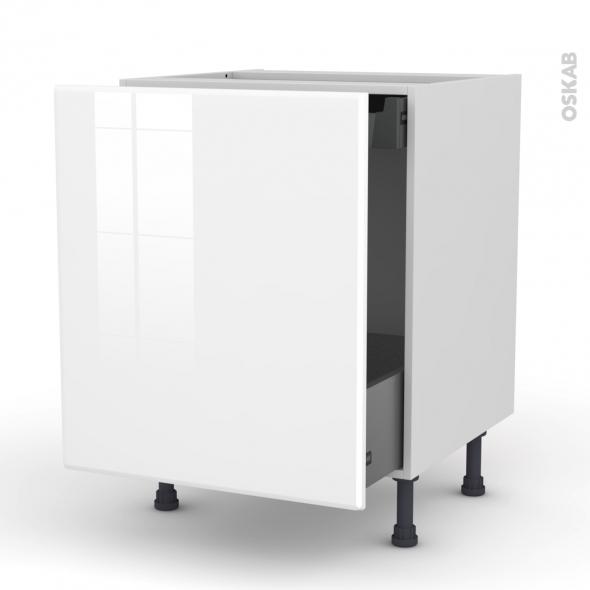 IRIS Blanc - Meuble bas coulissant  - 1 porte-1 tiroir anglaise - L60xH70xP58