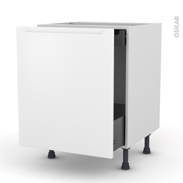 Meuble de cuisine - Bas coulissant - PIMA Blanc - 1 porte 1 tiroir à l'anglaise - L60 x H70 x P58 cm