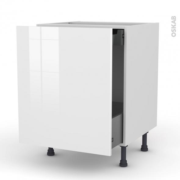 STECIA Blanc - Meuble bas coulissant  - 1 porte-1 tiroir anglaise - L60xH70xP58