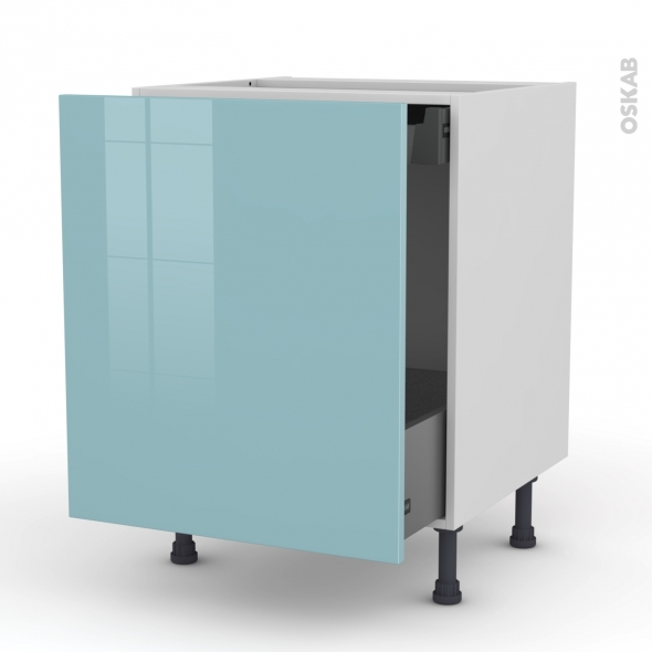 KERIA Bleu - Meuble bas coulissant  - 1 porte -1 tiroir anglaise - L60xH70xP58