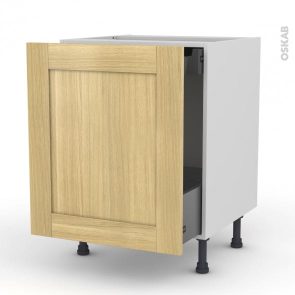 BASILIT Bois Brut - Meuble bas coulissant  - 1 porte - 1 tiroir anglaise - L60xH70xP58