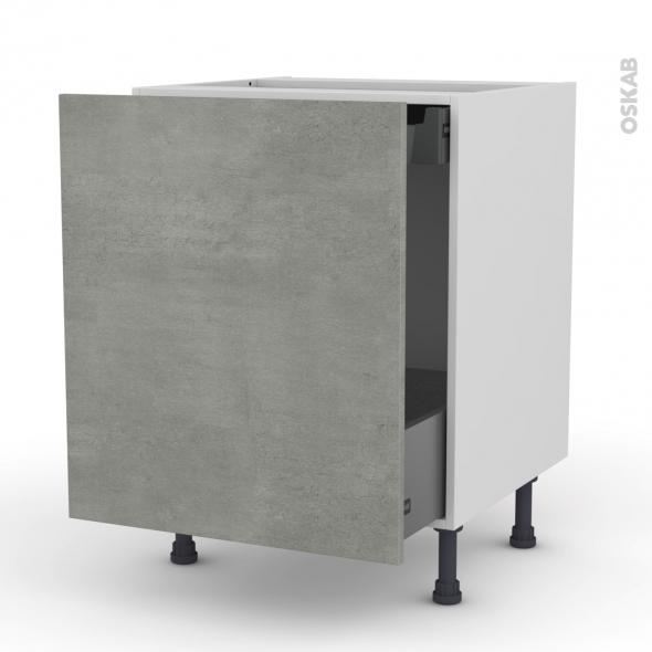 FAKTO Béton - Meuble bas coulissant  - 1 porte -1 tiroir anglaise - L60xH70xP58