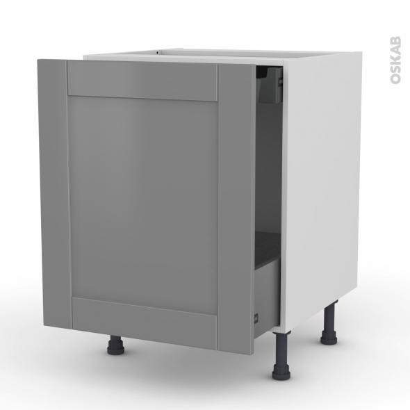 Meuble de cuisine - Bas coulissant - FILIPEN Gris - 1 porte 1 tiroir à l'anglaise - L60 x H70 x P58 cm