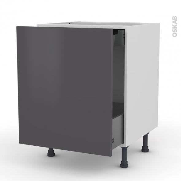 Meuble de cuisine - Bas coulissant - GINKO Gris - 1 porte 1 tiroir à l'anglaise - L60 x H70 x P58 cm