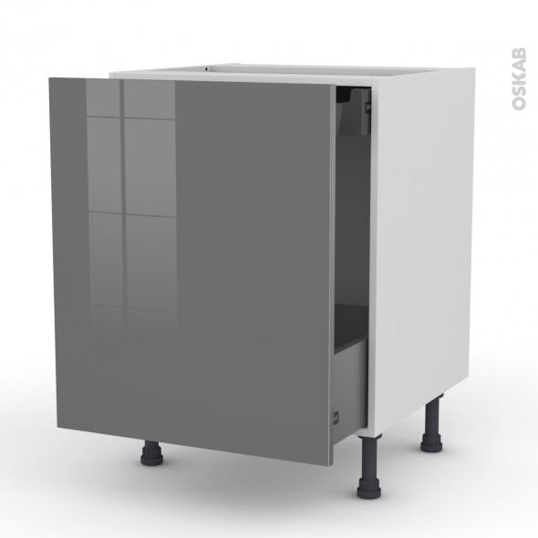 STECIA Gris - Meuble bas coulissant  - 1 porte-1 tiroir anglaise - L60xH70xP58