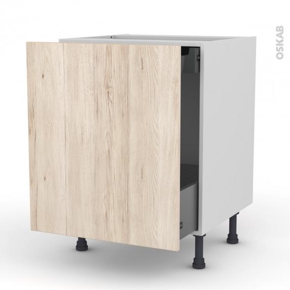 Meuble de cuisine - Bas coulissant - IKORO Chêne clair - 1 porte 1 tiroir à l'anglaise - L60 x H70 x P58 cm