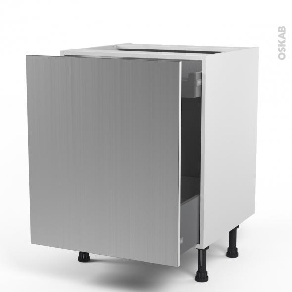 STILO Inox - Meuble bas coulissant  - 1 porte-1 tiroir anglaise - L60xH70xP58