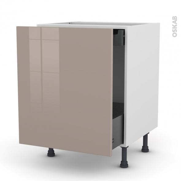 Meuble de cuisine - Bas coulissant - KERIA Moka - 1 porte 1 tiroir à l'anglaise - L60 x H70 x P58 cm
