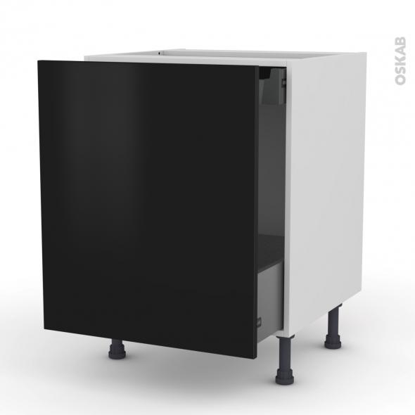 Meuble de cuisine - Bas coulissant - GINKO Noir - 1 porte 1 tiroir à l'anglaise - L60 x H70 x P58 cm