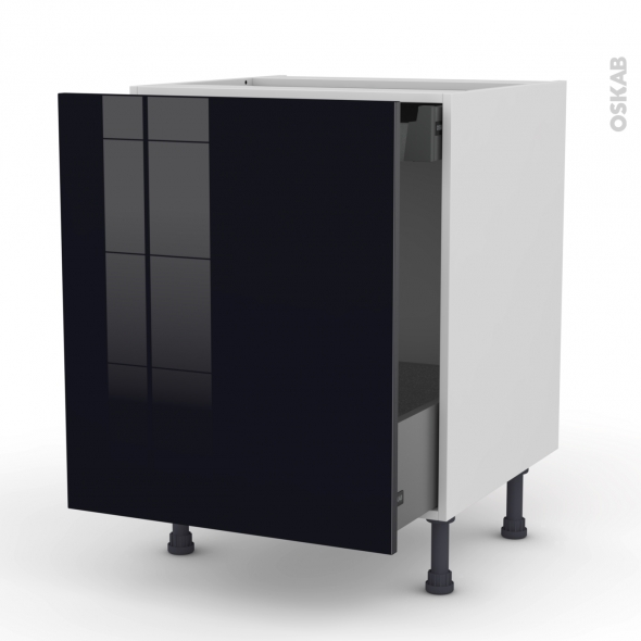 KERIA Noir - Meuble bas coulissant  - 1 porte -1 tiroir anglaise - L60xH70xP58