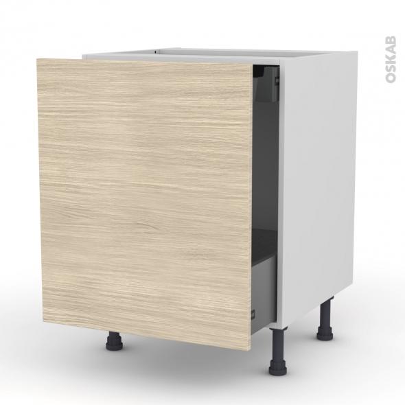STILO Noyer Blanchi - Meuble bas coulissant  - 1 porte -1 tiroir anglaise - L60xH70xP58