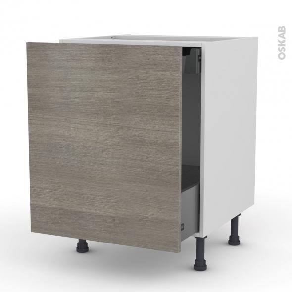 Meuble de cuisine - Bas coulissant - STILO Noyer Naturel - 1 porte 1 tiroir à l'anglaise - L60 x H70 x P58 cm