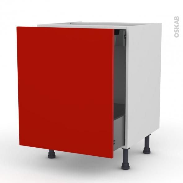 GINKO Rouge - Meuble bas coulissant  - 1 porte-1 tiroir anglaise - L60xH70xP58