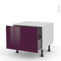 Meuble de cuisine - Bas coulissant - KERIA Aubergine - 1 porte - L60 x H41 x P58 cm