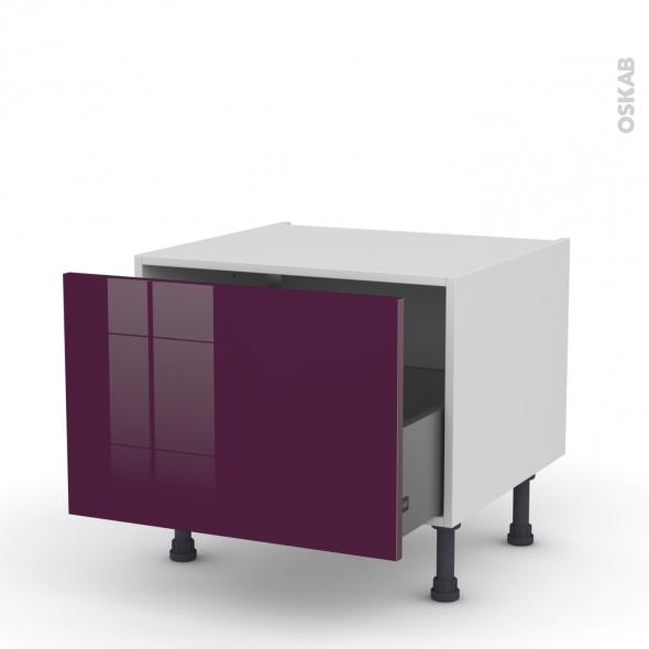 KERIA Aubergine - Meuble bas coulissant - 1 porte - L60xH41xP58