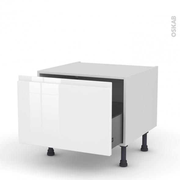 Meuble de cuisine - Bas coulissant - IPOMA Blanc - 1 porte - L60 x H41 x P58 cm