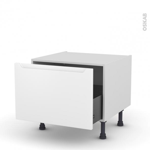 Meuble de cuisine - Bas coulissant - PIMA Blanc - 1 porte - L60 x H41 x P58 cm