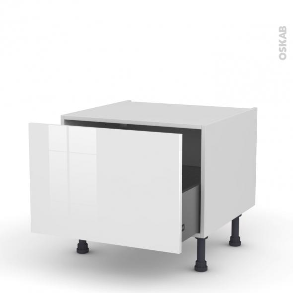 STECIA Blanc - Meuble bas coulissant - 1 porte - L60xH41xP58
