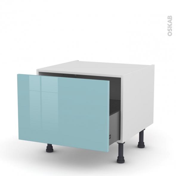 Meuble de cuisine - Bas coulissant - KERIA Bleu - 1 porte - L60 x H41 x P58 cm