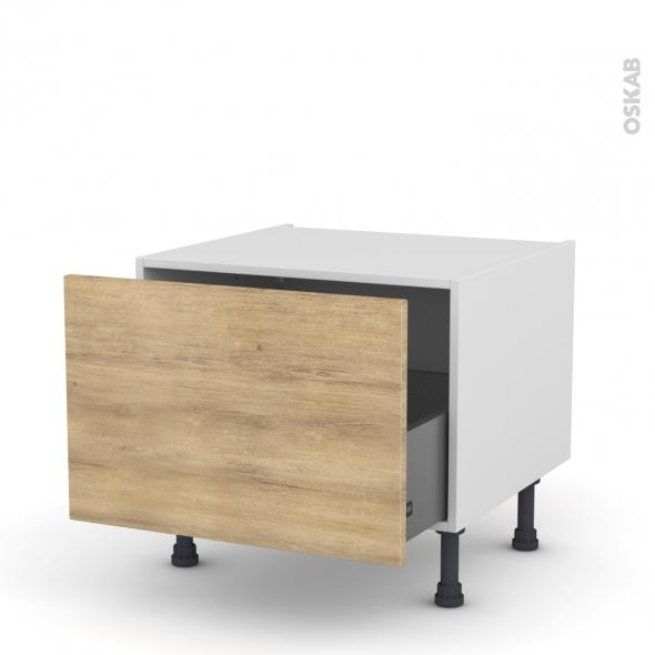 Meuble de cuisine - Bas coulissant - HOSTA Chêne naturel - 1 porte - L60 x H41 x P58 cm