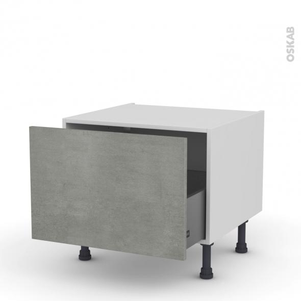 Meuble de cuisine - Bas coulissant - FAKTO Béton - 1 porte - L60 x H41 x P58 cm