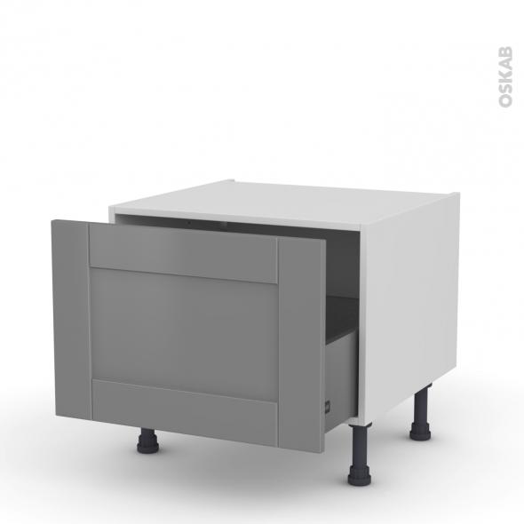 Meuble de cuisine - Bas coulissant - FILIPEN Gris - 1 porte - L60 x H41 x P58 cm