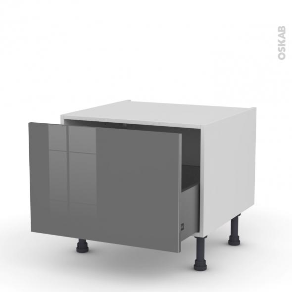 STECIA Gris - Meuble bas coulissant - 1 porte - L60xH41xP58